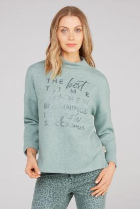 Pullover mit Stehkragen und Glitter Print
