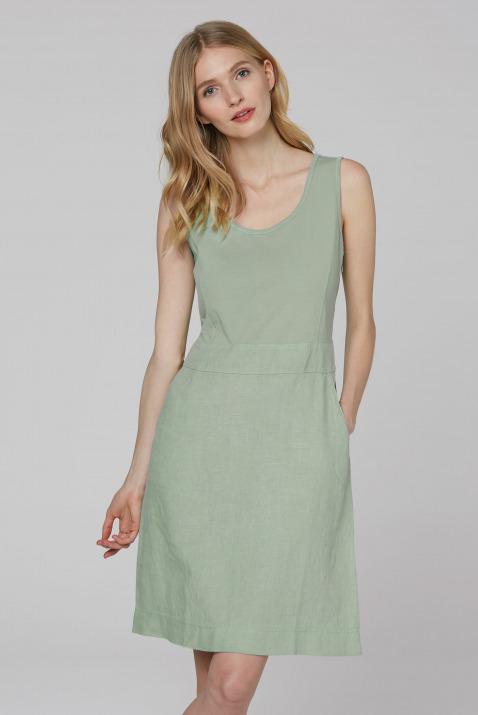 Ärmelloses Kleid im Materialmix