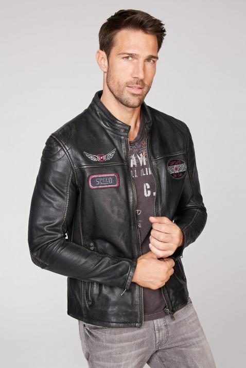 camp david - Bikerjacke aus Leder mit Badges Farbe : black ,  Größe:  L