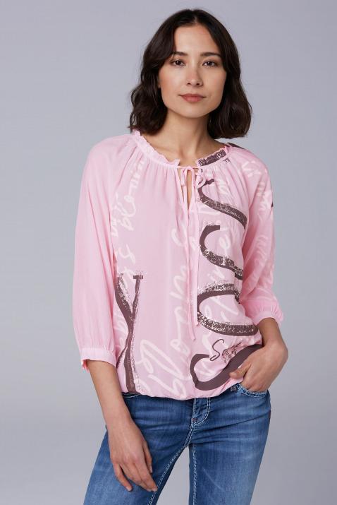 Bluse mit großem Wording Print