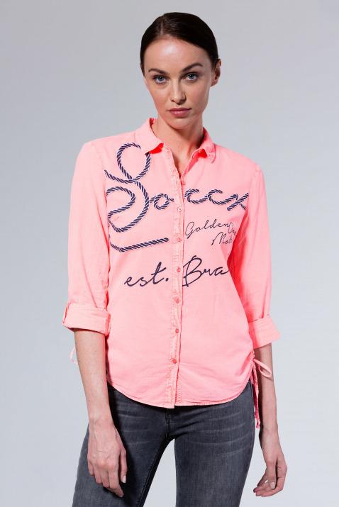 Bluse mit Logo Print und seitlicher Raffung