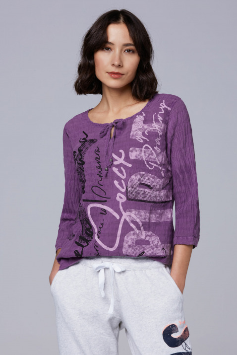 Crinkle-Bluse mit Artwork