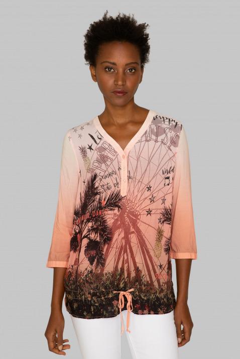 Fließende Bluse mit Photo Print