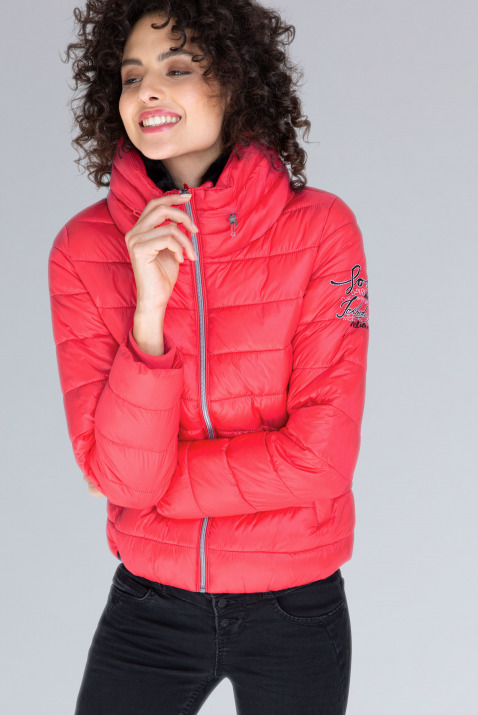 soccx - Glänzende Steppjacke mit Doppelkragen Farbe : frozen red ,  Größe:  L