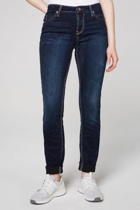 HE:DI Slim Fit Jeans mit Kontrastnähten