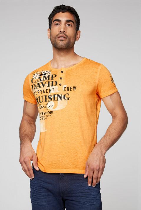 Henley-Shirt mit Ausbrennern, Prints und Patches