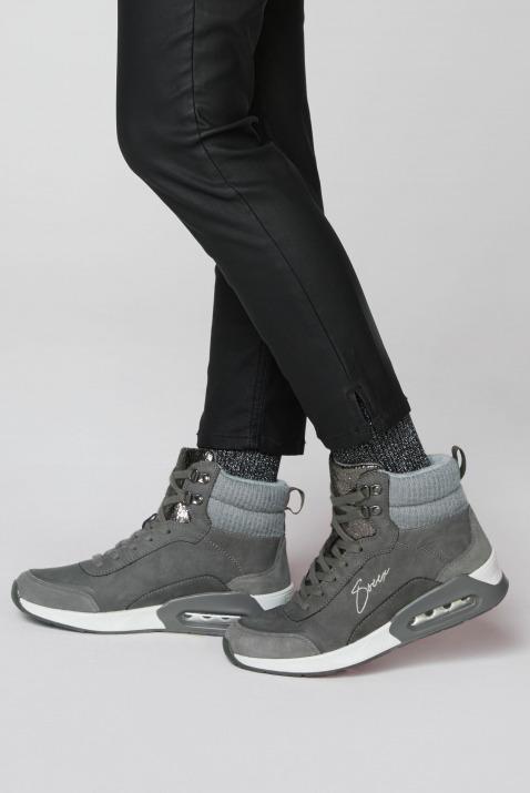 High Top Sneaker im Materialmix mit Logostick