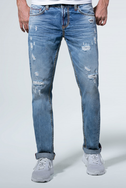 Jeans BR:AD im Used Look mit unterlegten Destroys
