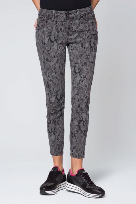 Jeans mit Cropped Leg und Snake Print EL:LA