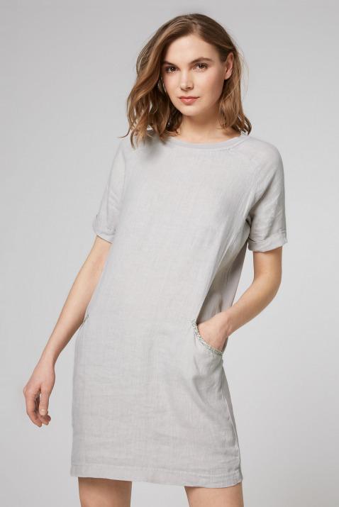 Kleid im Materialmix mit kurzen Ärmeln