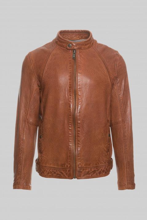 camp david - Lederjacke im Vintage Look Farbe : dark cognac ,  Größe:  L