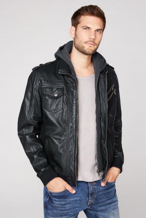 camp david - Lederjacke mit Taschen und Kapuzen-Einsatz Farbe : black ,  Größe:  XXL