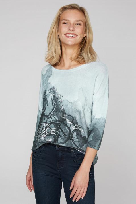 Pullover in Linksstrick mit Print-Artwork