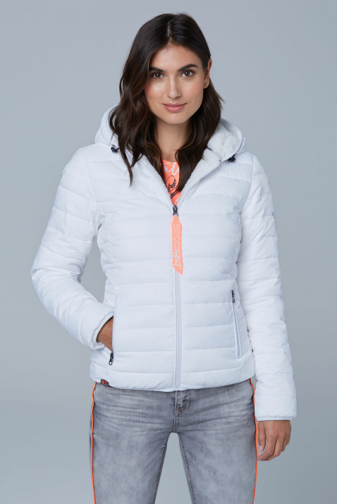 Jacken - Steppjacke mit Teddyfutter und Back Print Farbe opticwhite  - Onlineshop CAMP DAVID, SOCCX