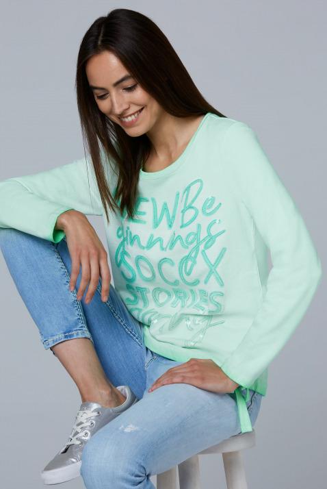 Sweatshirt mit Wording und Tunnelzugsaum