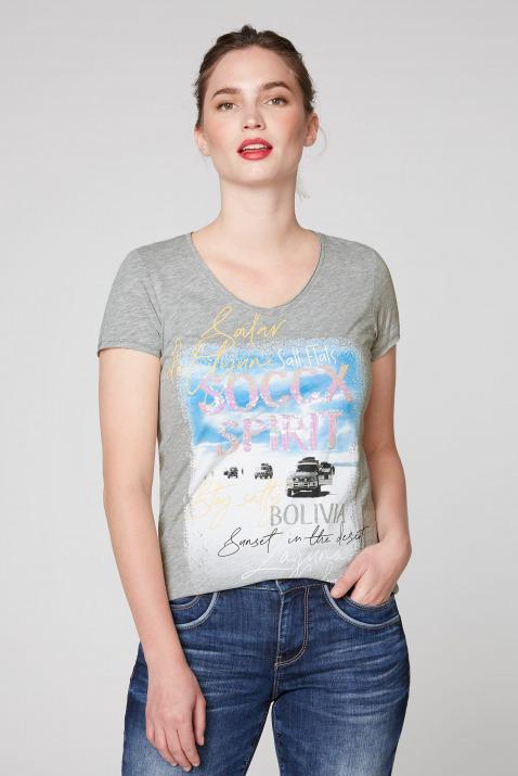 T-Shirt mit Artwork und Used-Kanten