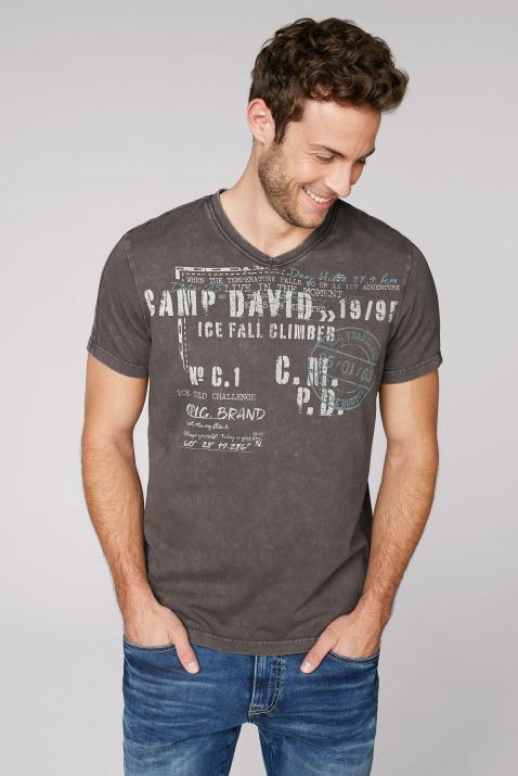 camp david - T-Shirt mit V-Neck und Used-Optik Farbe : stone brown ,  Größe:  S