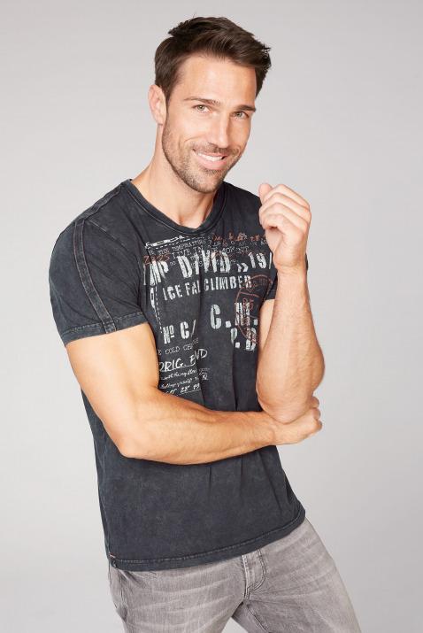 camp david - T-Shirt mit V-Neck und Used-Optik Farbe : ebony ,  Größe:  M
