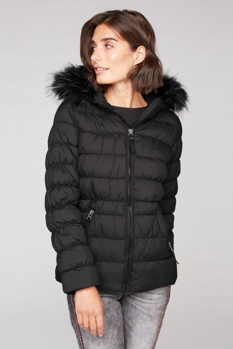Winterjacke mit gesmokten Nähten und Fake Fur