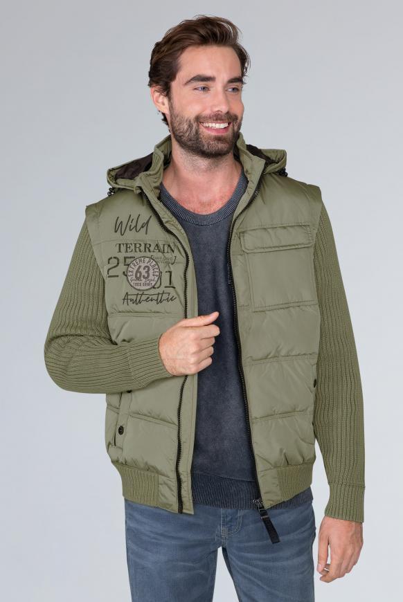 2-in-1-Jacke mit Kapuze und Artworks shrub green