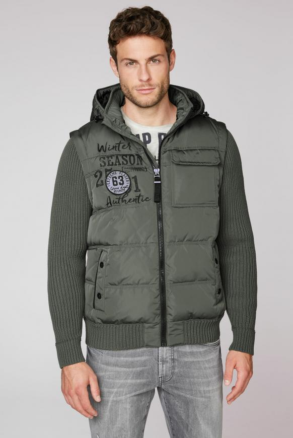 2-in-1 Jacke mit Kapuze und Strickärmeln medium khaki
