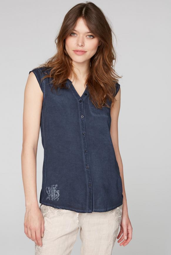 Ärmellose Bluse mit Rücken-Artwork moroccan blue