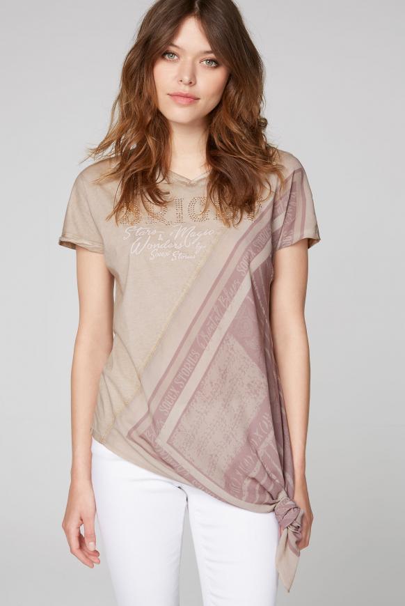 Asymmetrisches T-Shirt im Materialmix desert beige