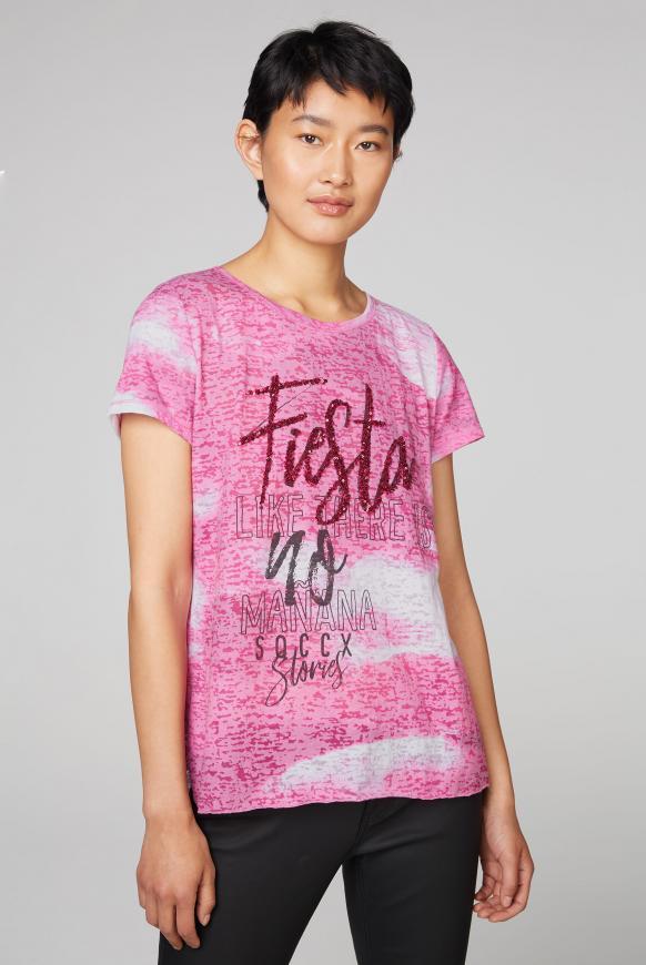 Ausbrenner-Shirt mit Print und Pailletten sugar rose
