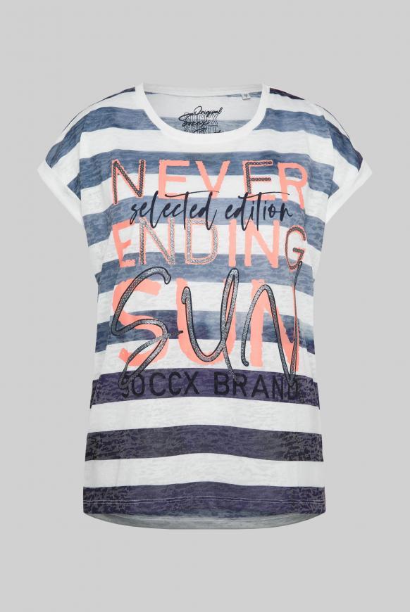 Ausbrenner-Shirt mit Streifen und Wording Print blue navy