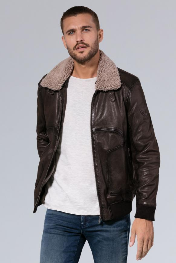 Aviator-Lederjacke mit Fake-Fur-Kragen dark brown