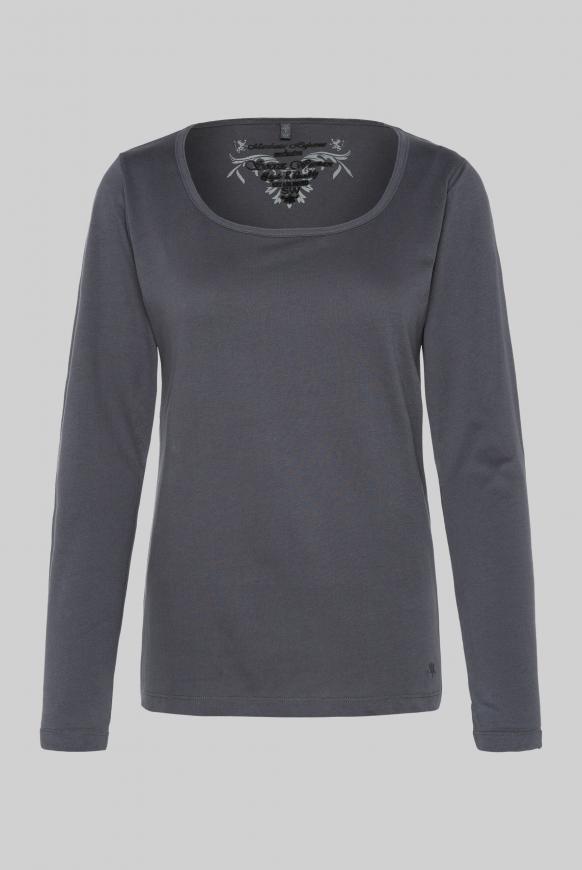 Basic Langarmshirt raven grey