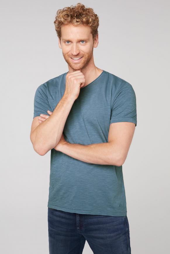 Basic T-Shirt mit V-Ausschnitt cliff grey