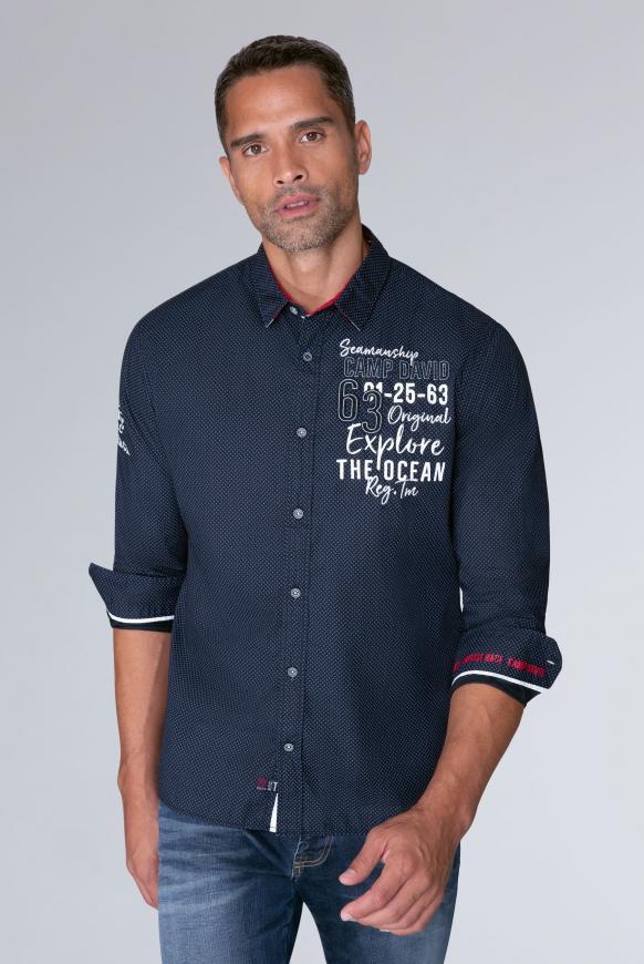 Baumwollhemd mit Stickereien, Regular Fit space navy