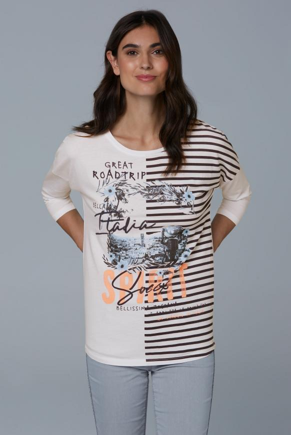 Baumwollshirt mit Artwork opticwhite