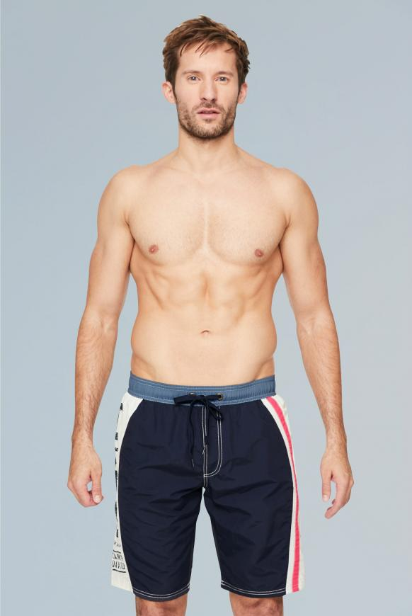 Beachshorts mit Colour-Design und Print blue navy