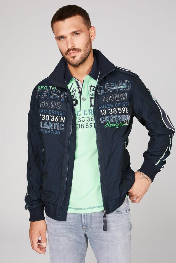 Blouson mit Label-Applikationen und Tapes new navy