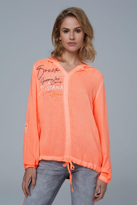 Bluse mit Kapuze und Streifenprint hinten neon orange