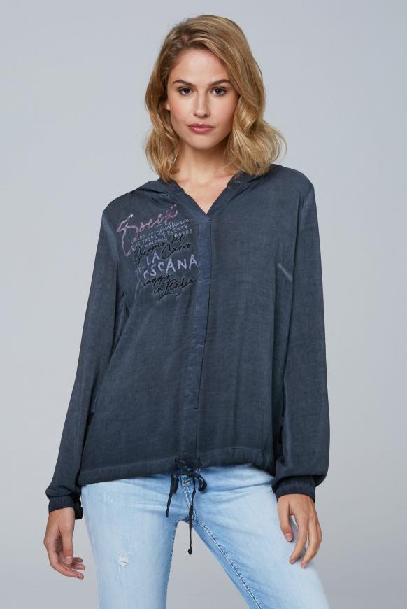 Bluse mit Kapuze und Streifenprint hinten dark blue