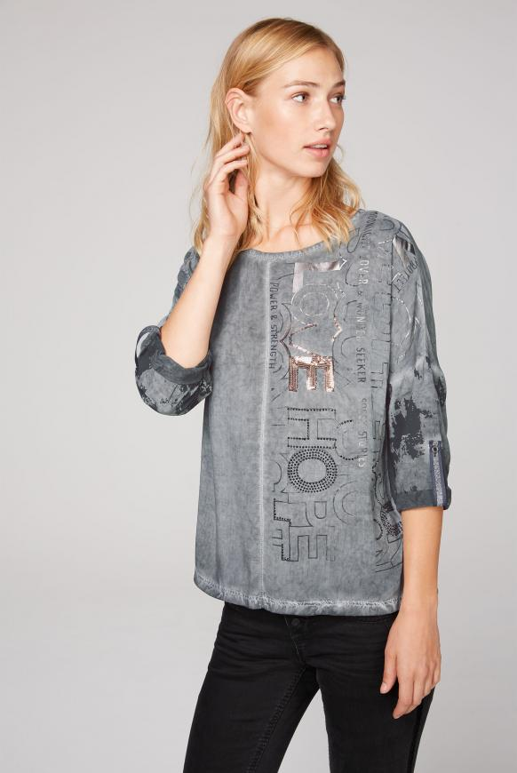 Blusen-Shirt Oil Dyed mit Artwork-Design grey phantom