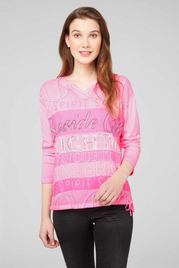 Blusenshirt im Materialmix mit Artwork knockout pink
