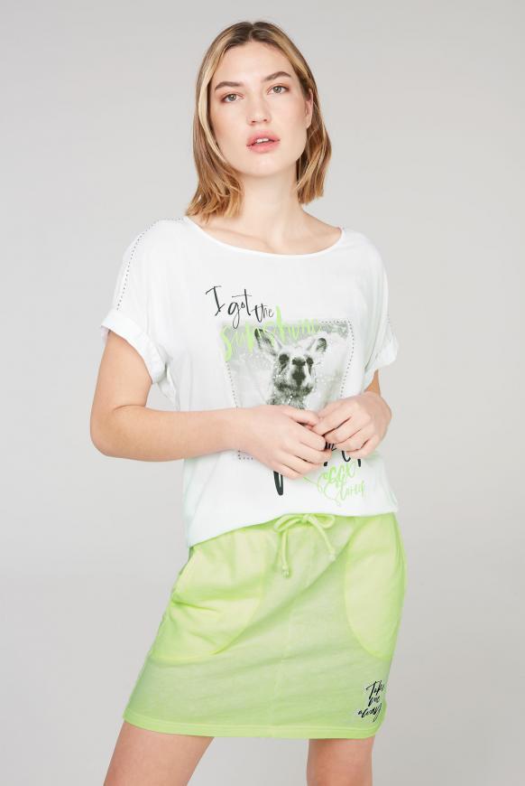 Blusenshirt mit Fotodruck und Glitzersteinen opticwhite