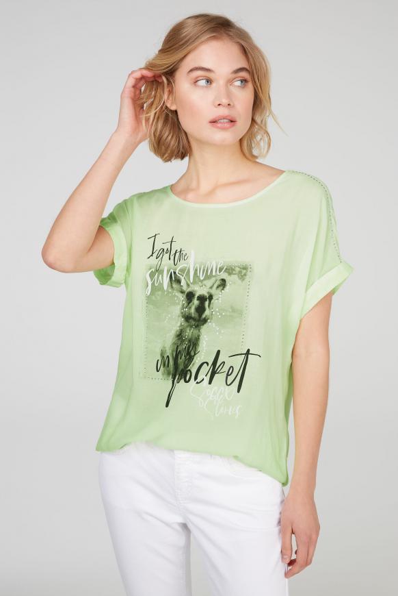 Blusenshirt mit Fotodruck und Glitzersteinen summer lime