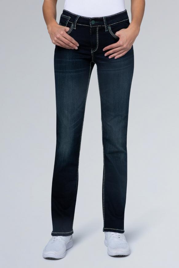 Bootcut Jeans CO:LE mit Wrinkle-Effekte blue black used