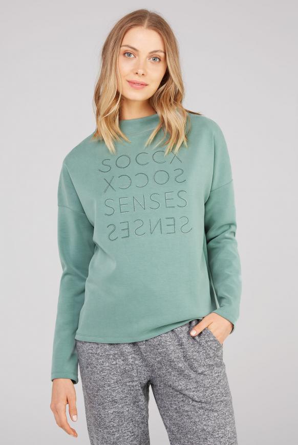Boxy-Shirt mit Artwork aus Glitzersteinen matcha green