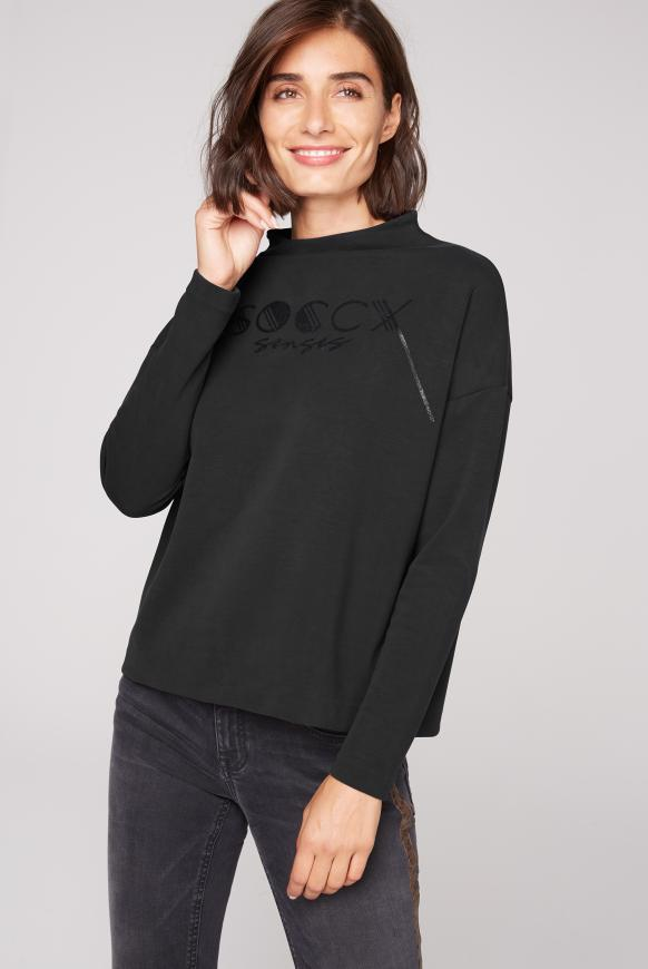Boxy-Shirt mit Glitter Logo black