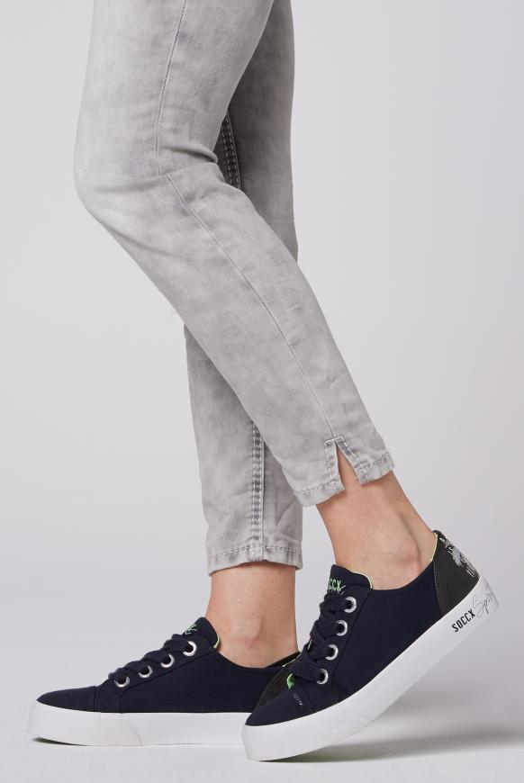 Canvas Sneaker mit Plateau-Sohle anthra