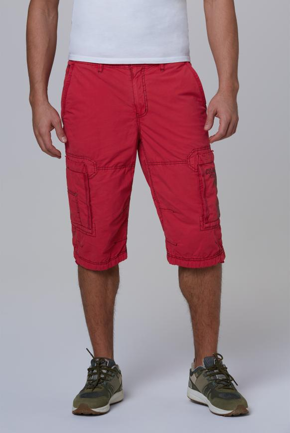 Cargo Bermuda mit tonigen Tapes red orange