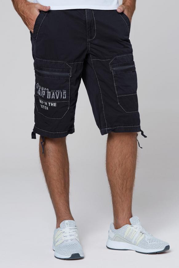Cargo Bermuda mit Zippertaschen und Artworks blue navy