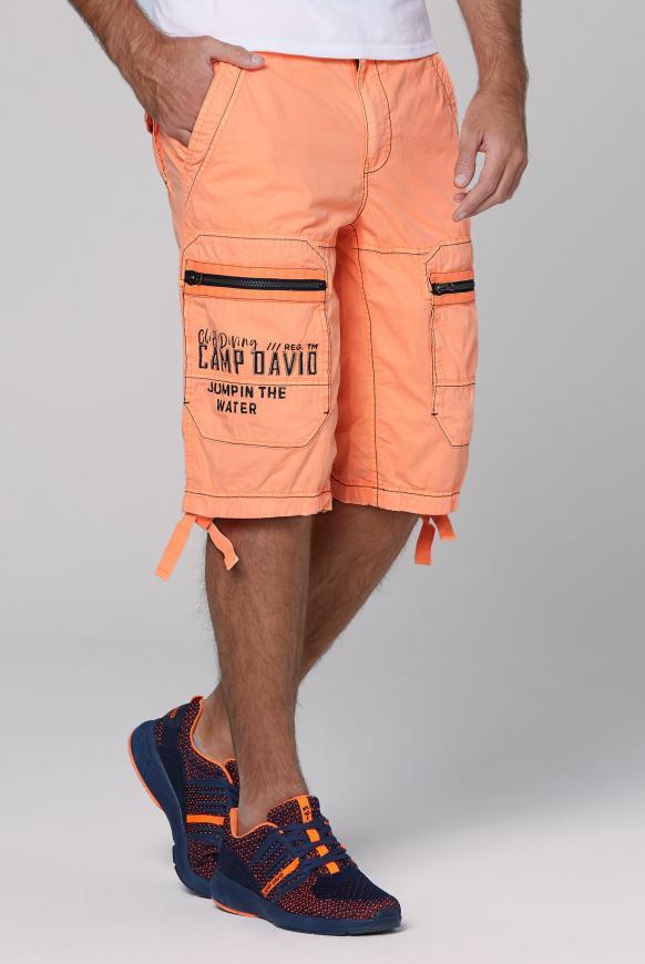 Cargo Bermuda mit Zippertaschen und Artworks neon orange