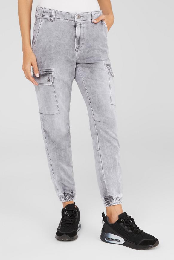 Cargo Jeans CAR:LA aus Sweatmaterial light grey